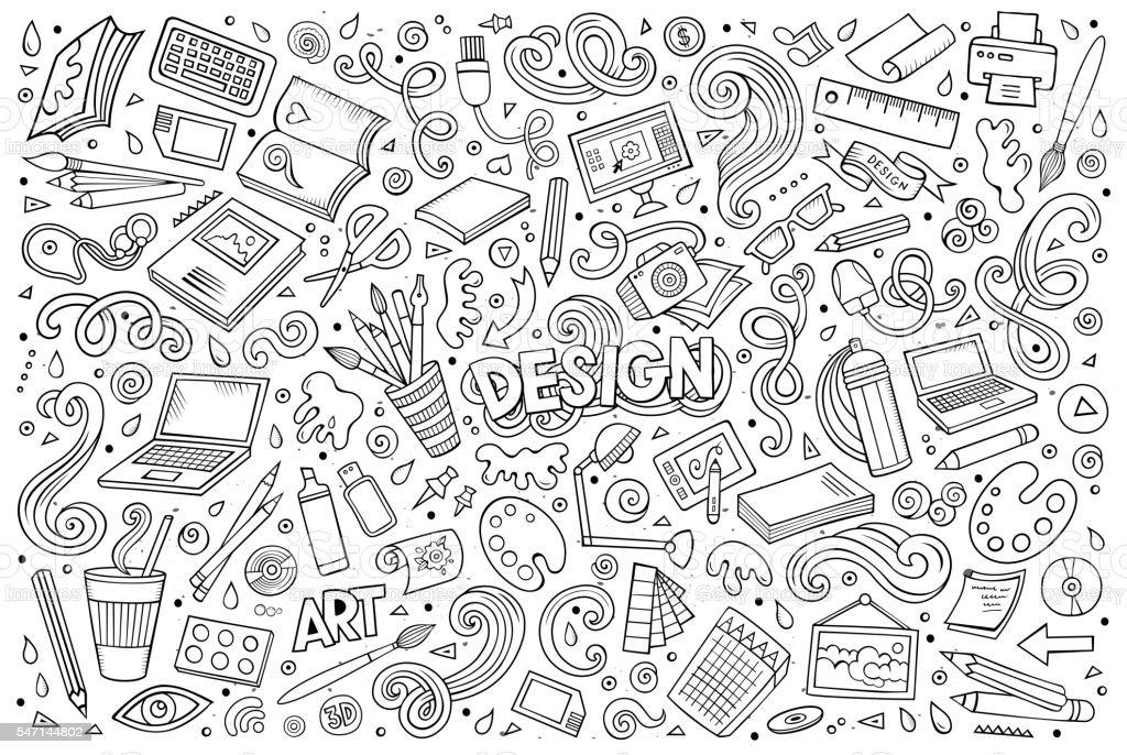 Vector set of art & design theme items vector art illustration