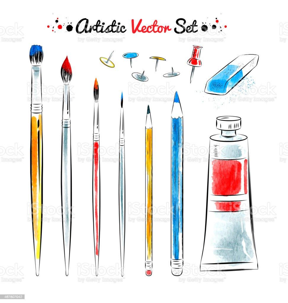 Vector set of art tools. vector art illustration