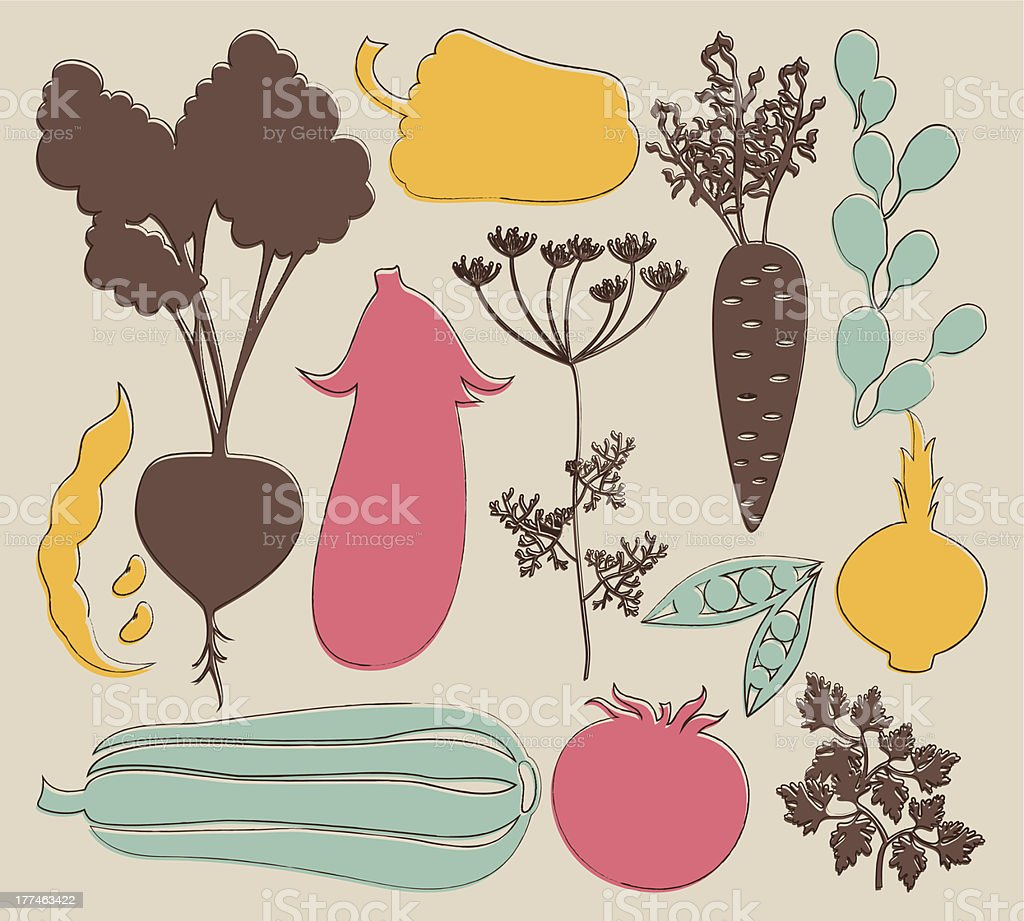 vector set of artistic vegetables silhouettes with decorative outlines vector art illustration