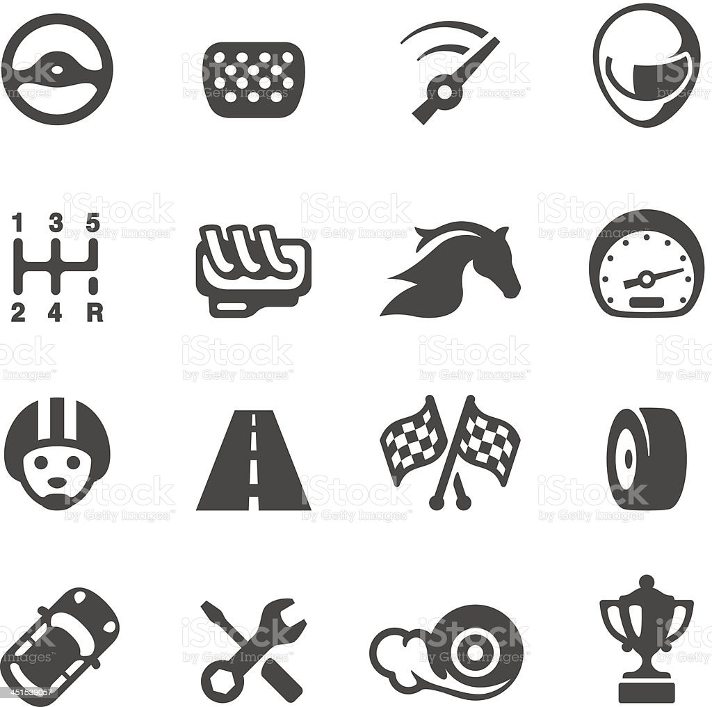 Vector set of auto racing icons vector art illustration