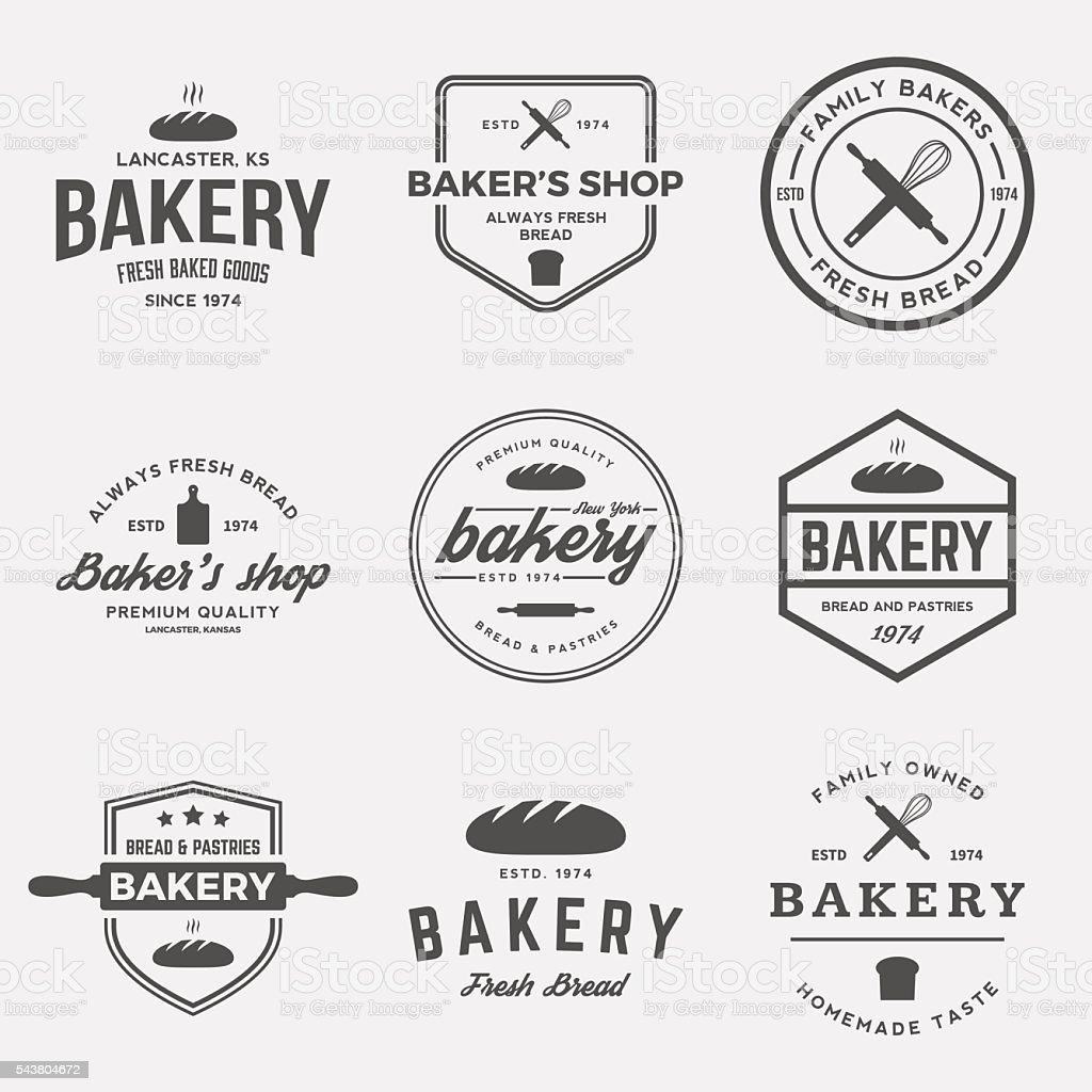 vector set of bakery labels, badges and design elements vector art illustration