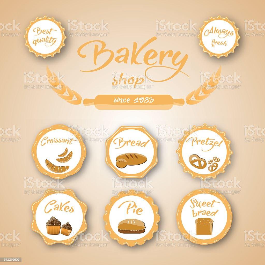 Vector set of bakery labels vector art illustration