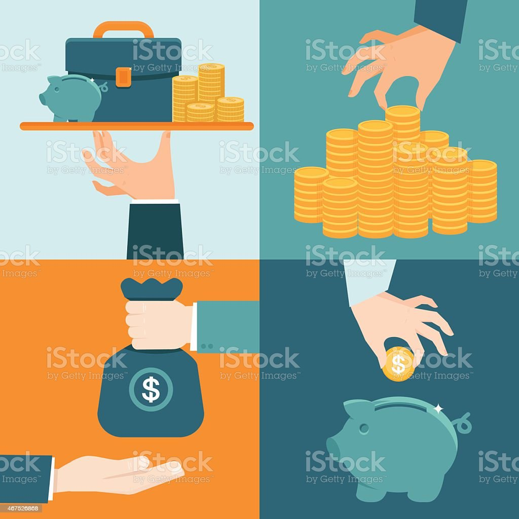 Vector set of banking concepts in flat style vector art illustration