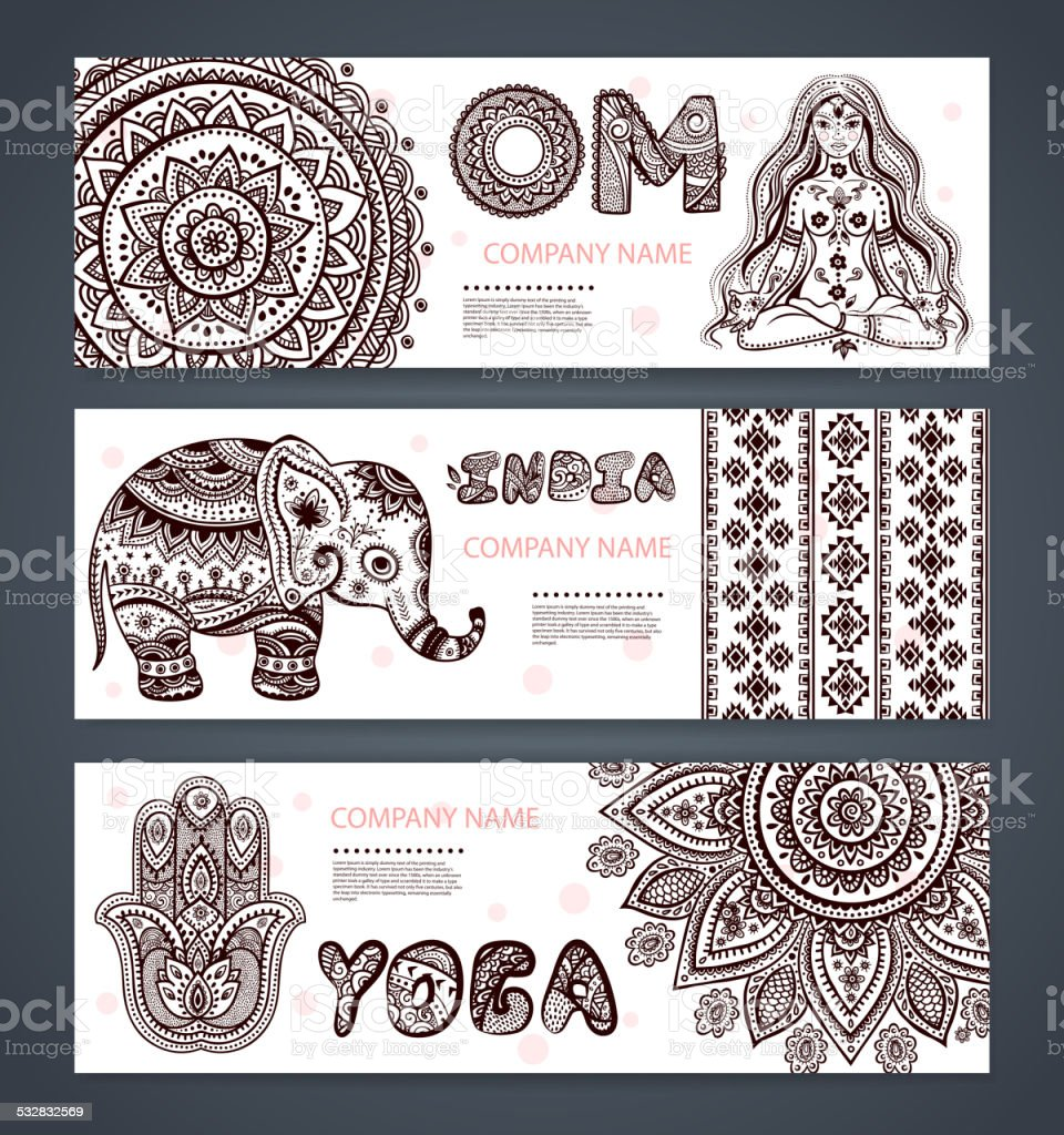 Vector set of banners with ethnic and yoga symbols vector art illustration