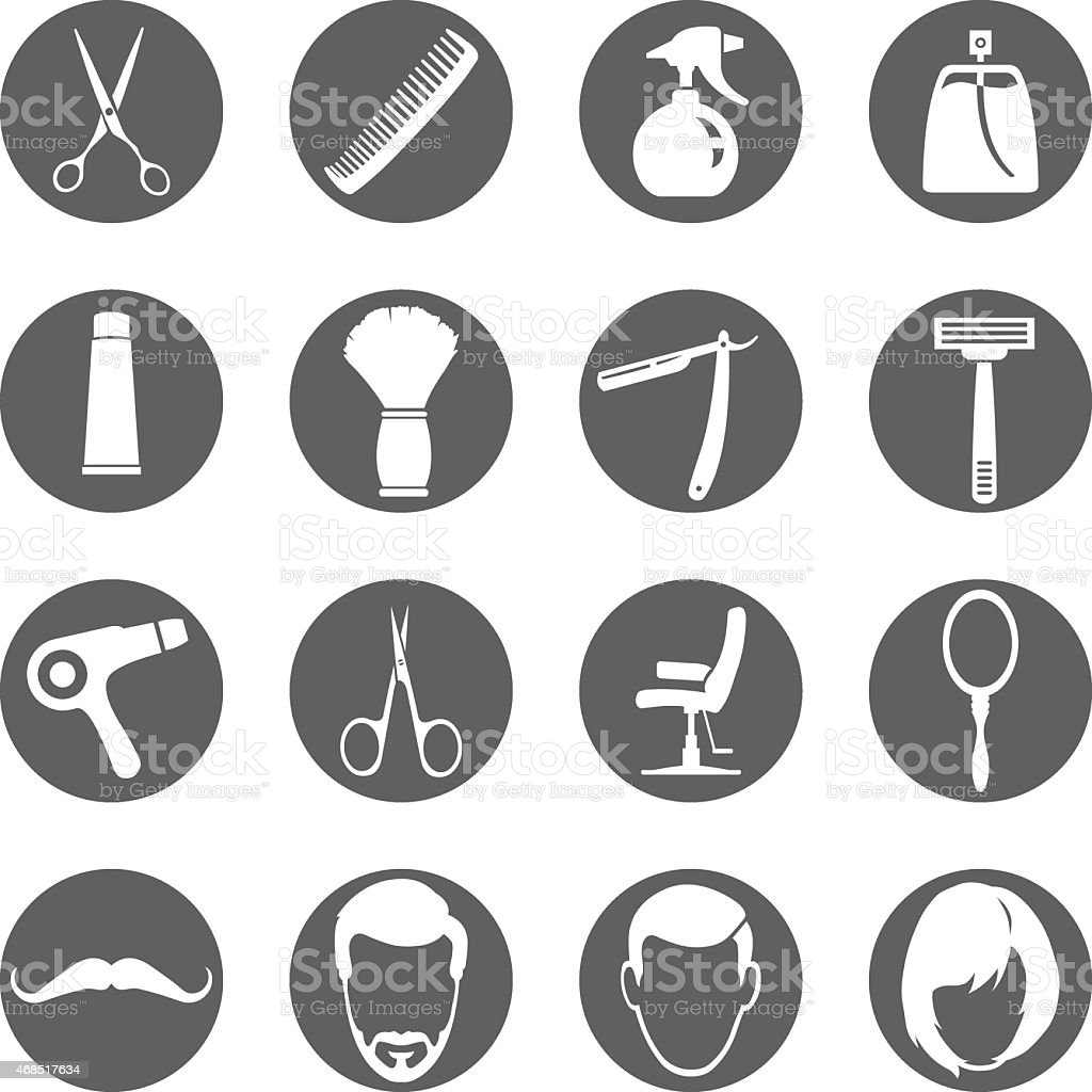 Vector Set of Barber Shop Icons vector art illustration