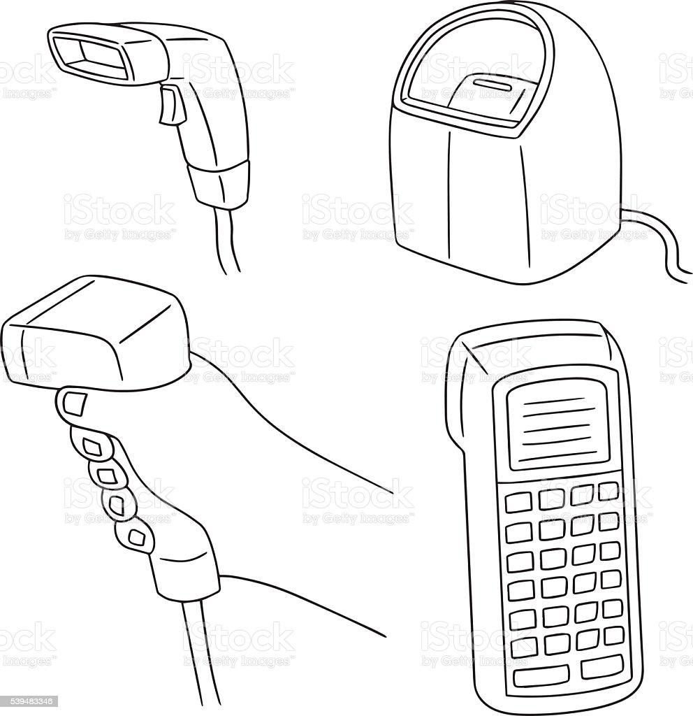vector set of barcode reader vector art illustration
