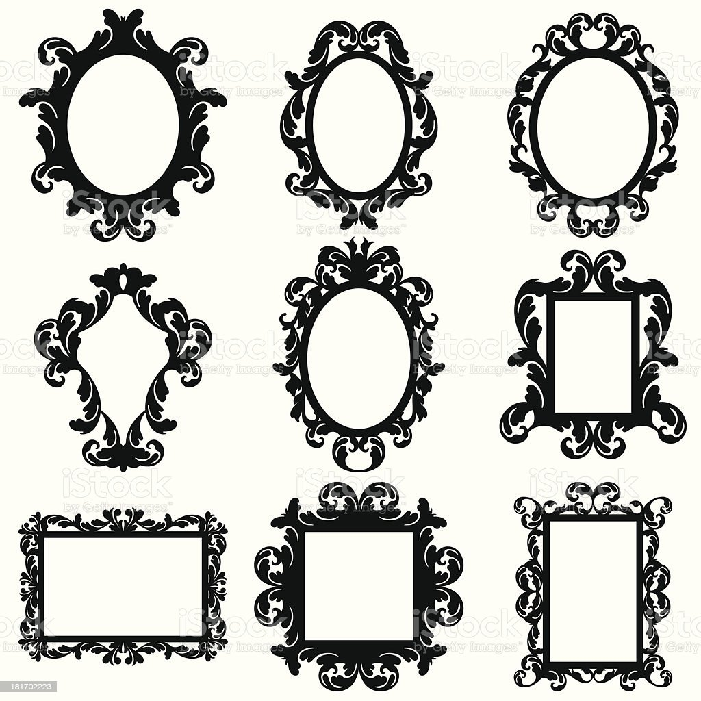 Vector Set of Baroque Frame Silhouettes vector art illustration