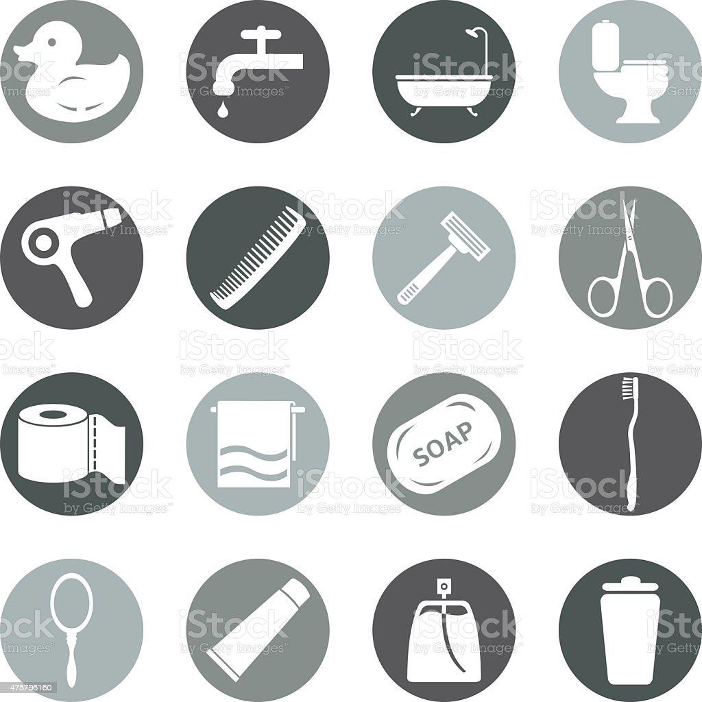 Vector Set of Bathroom and Hygiene Icons. vector art illustration