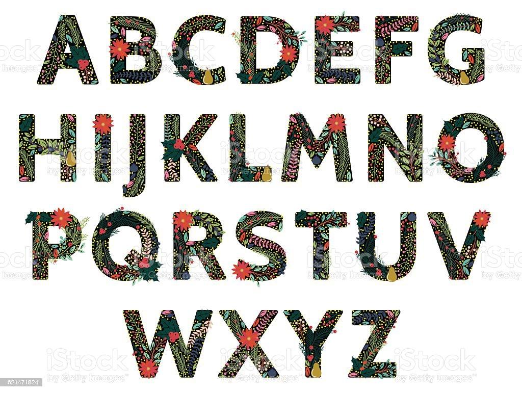 Vector Set of Beautiful Christmas or Winter Holidays Floral Alphabet vector art illustration