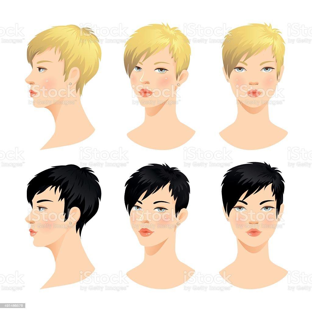 Vector set of beautiful woman face vector art illustration