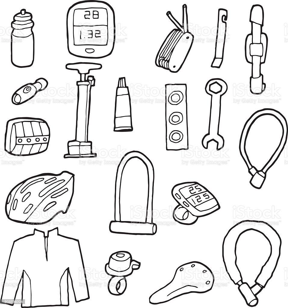vector set of bicycle equipment vector art illustration
