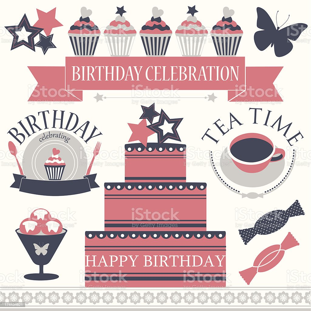 Vector set of birthday icons in retro colors. royalty-free stock vector art