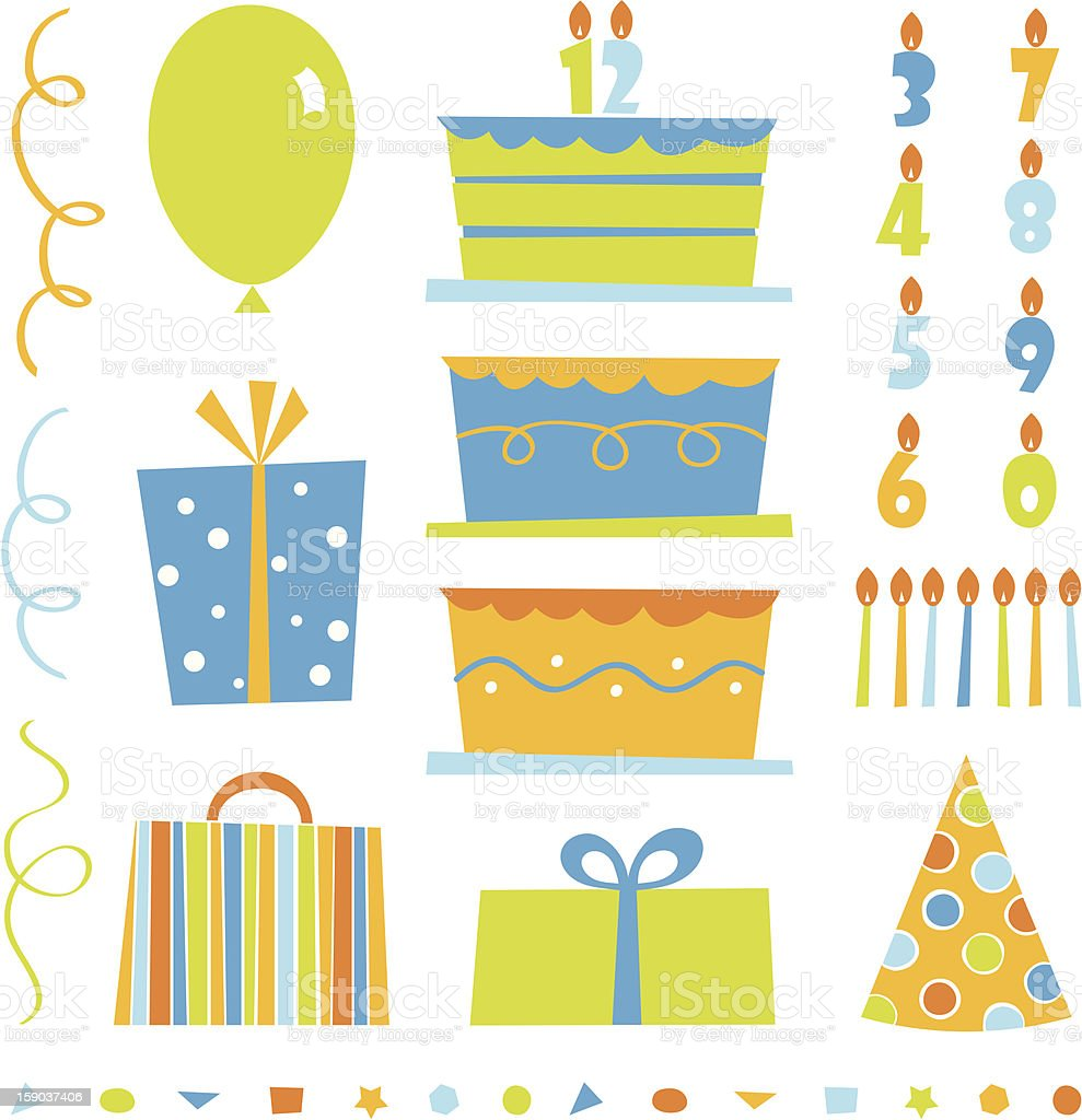 Vector set of birthday party icons royalty-free stock vector art