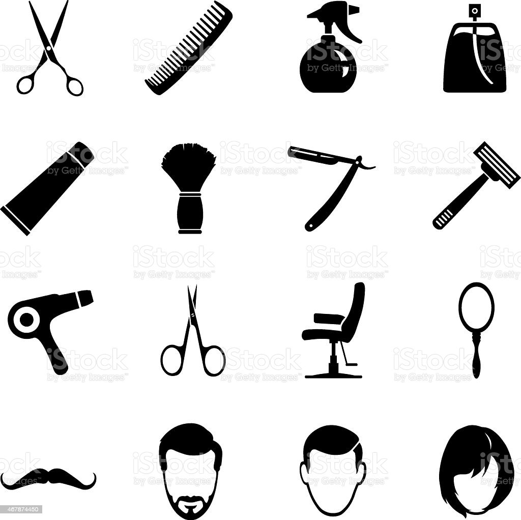 Vector set of black and white barber shop icons vector art illustration