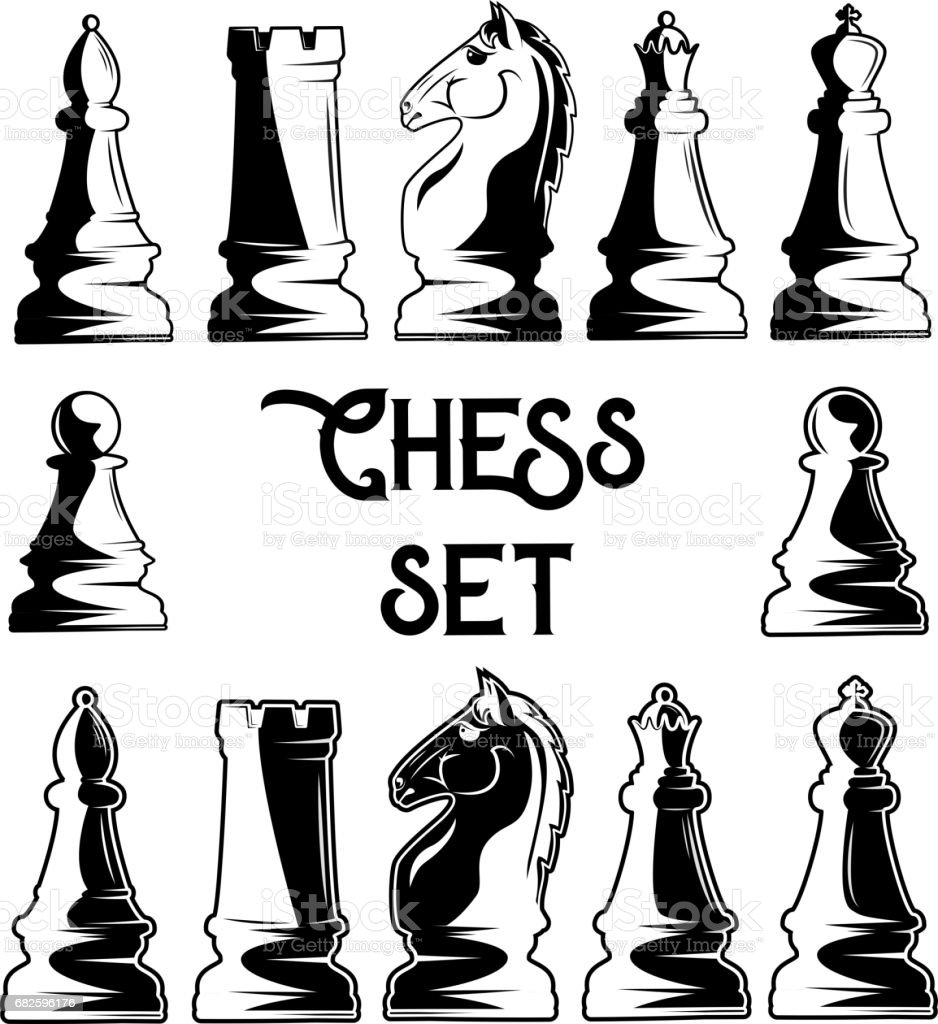 Vector set of black and white chess pieces vector art illustration