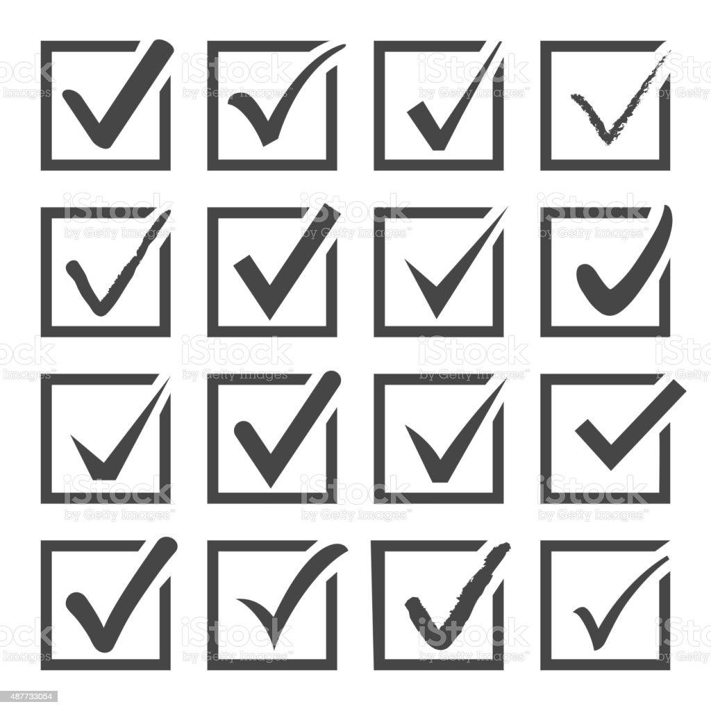 Vector set of black confirm check box icons. vector art illustration
