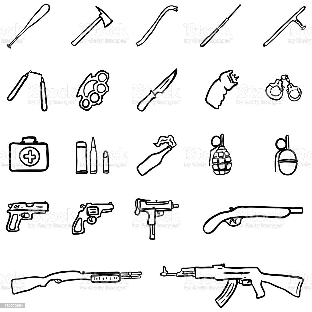 Vector Set of Black Doodle Weapon Icons vector art illustration