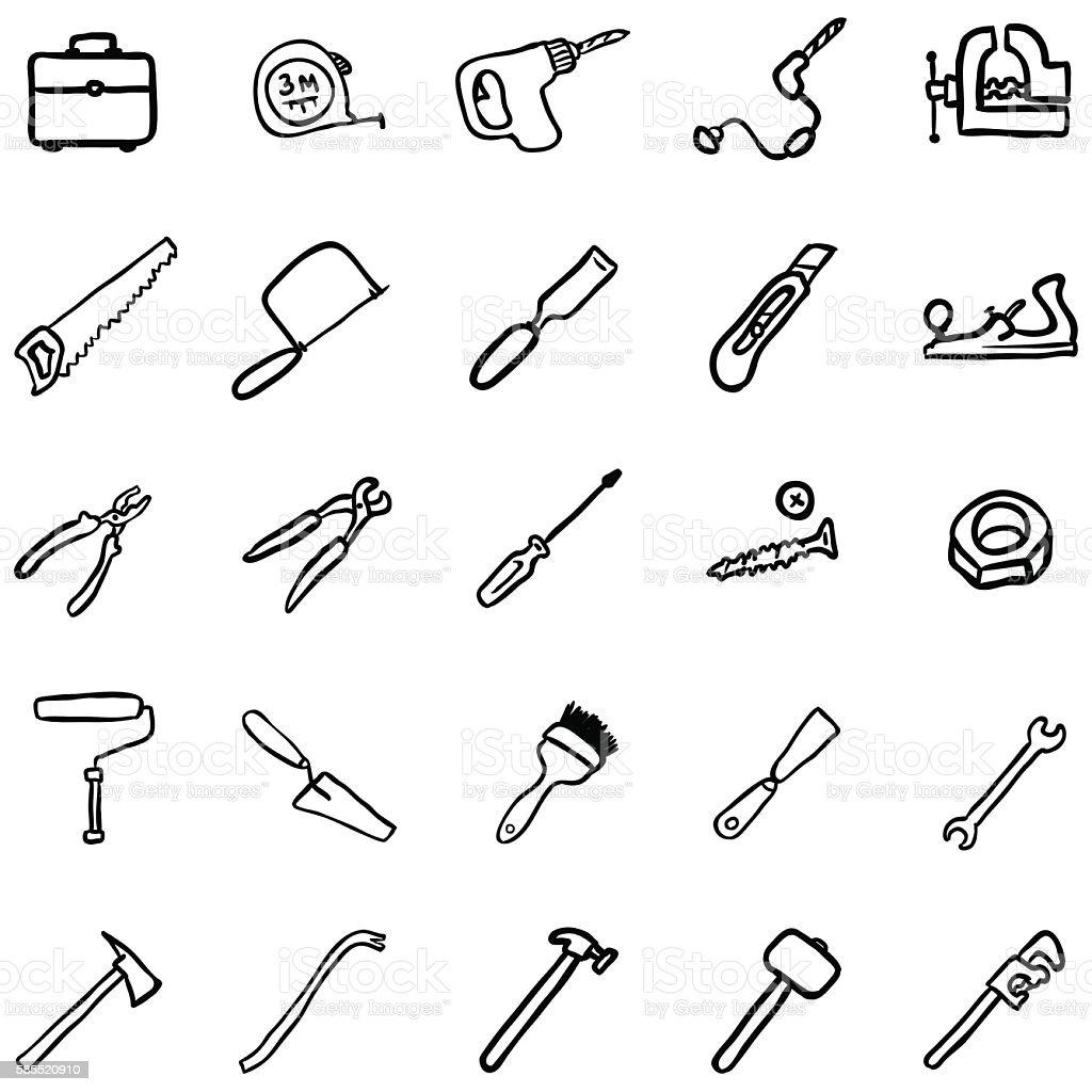 Vector Set of Black DoodleWork Tools Icons vector art illustration