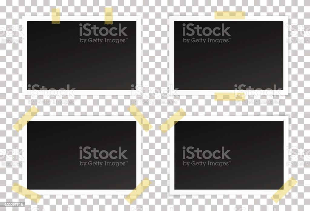 Vector set of black photo frames vector art illustration