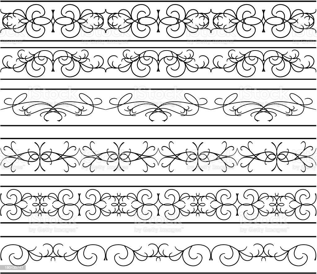 vector - set of  black wavy elements for design royalty-free stock vector art