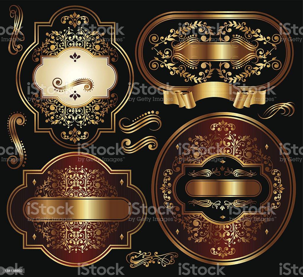 Vector set of black-golden labels vector art illustration