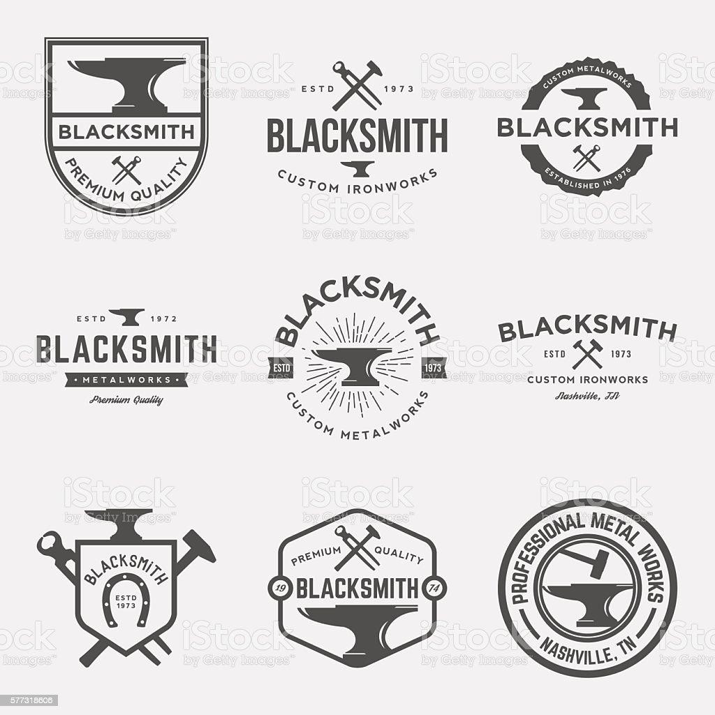 vector set of blacksmith vintage logos, emblems and designs vector art illustration