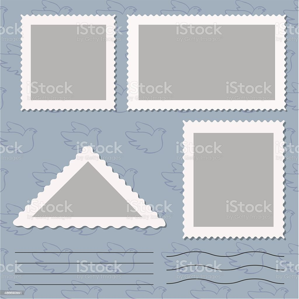 Vector set of blank postage stamps isolated on grey vector art illustration