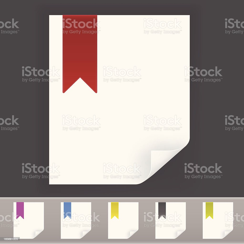 Vector set of blank vertical note paper with boomark icon royalty-free stock vector art