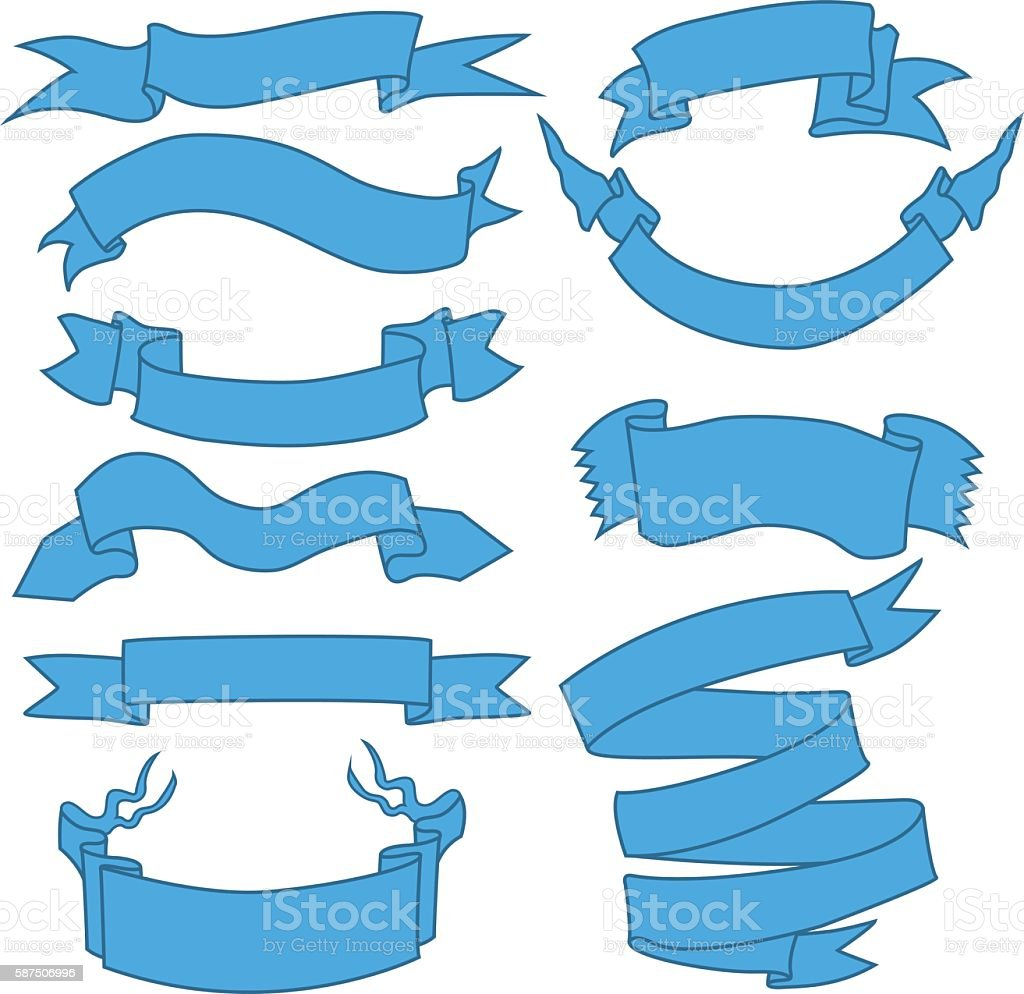 Vector Set of Blue Ribbons for Your Text vector art illustration