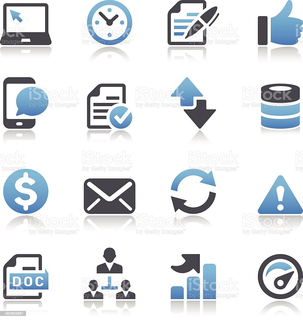 Vector set of blue-and-black Web icons vector art illustration