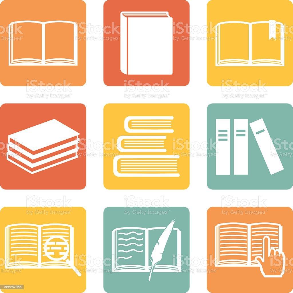 Vector Set of  Books Icons vector art illustration