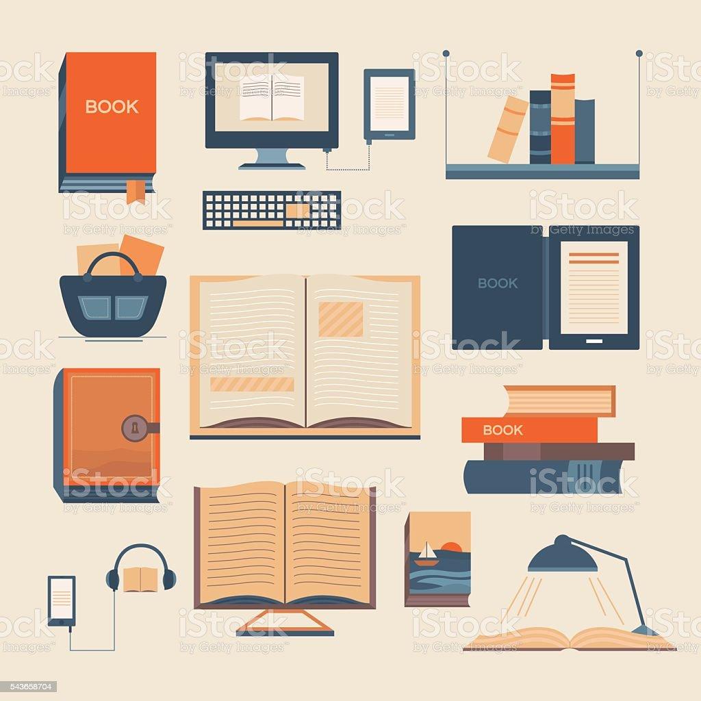 Vector set of books vector art illustration