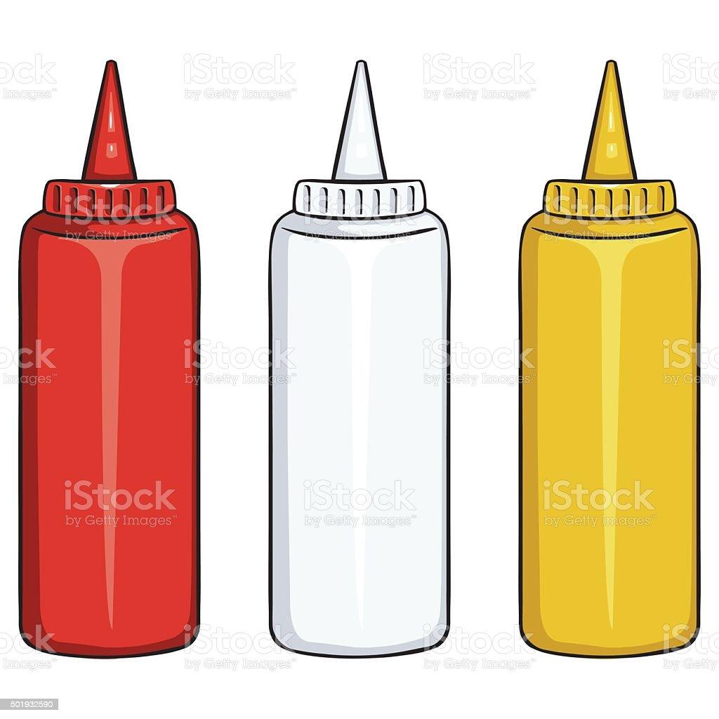 Vector Set of Bottles. Ketchup, Mayo, Mustard vector art illustration