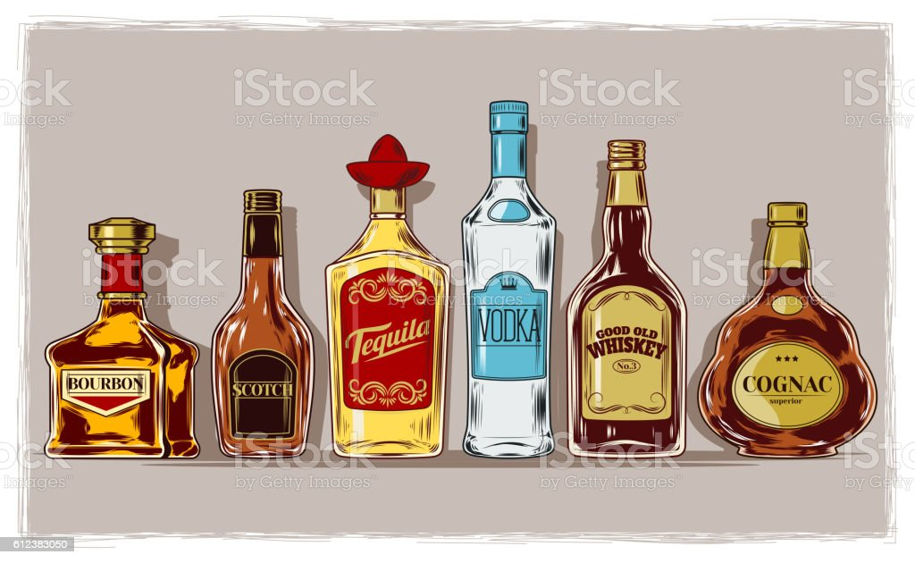 Vector set of bottles with alcohol and stemware vector art illustration