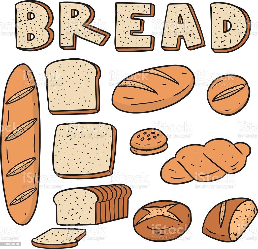 vector set of bread vector art illustration