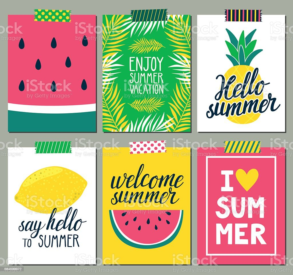 Vector set of bright summer cards. Beautiful posters. vector art illustration