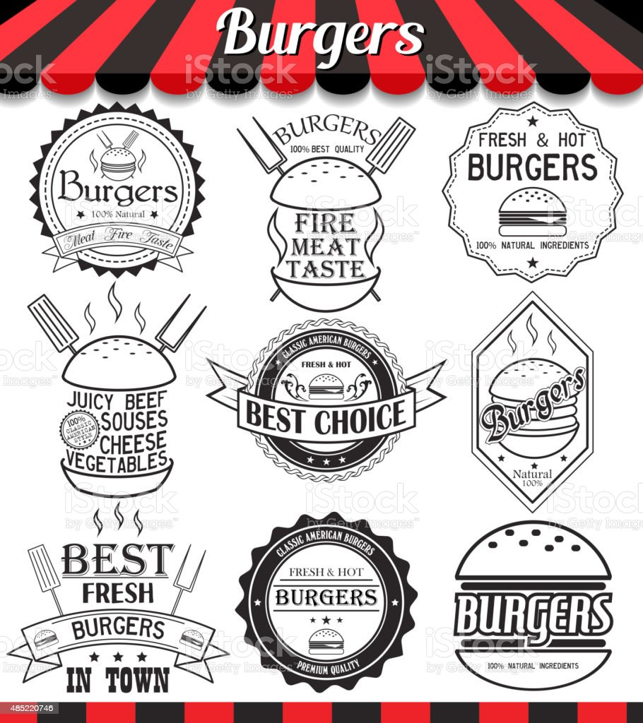 Vector set of burgers labels, stickers,logos and logotypes vector art illustration