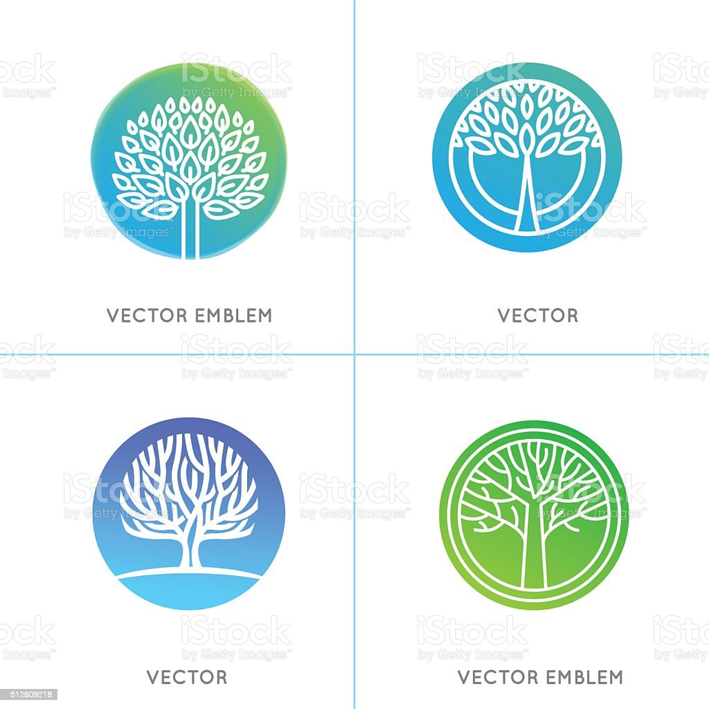 Vector set of business and abstract emblems vector art illustration