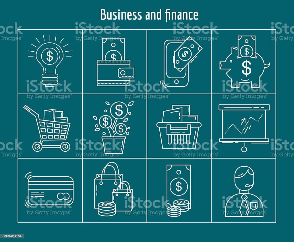 Vector set of business and finance vector art illustration
