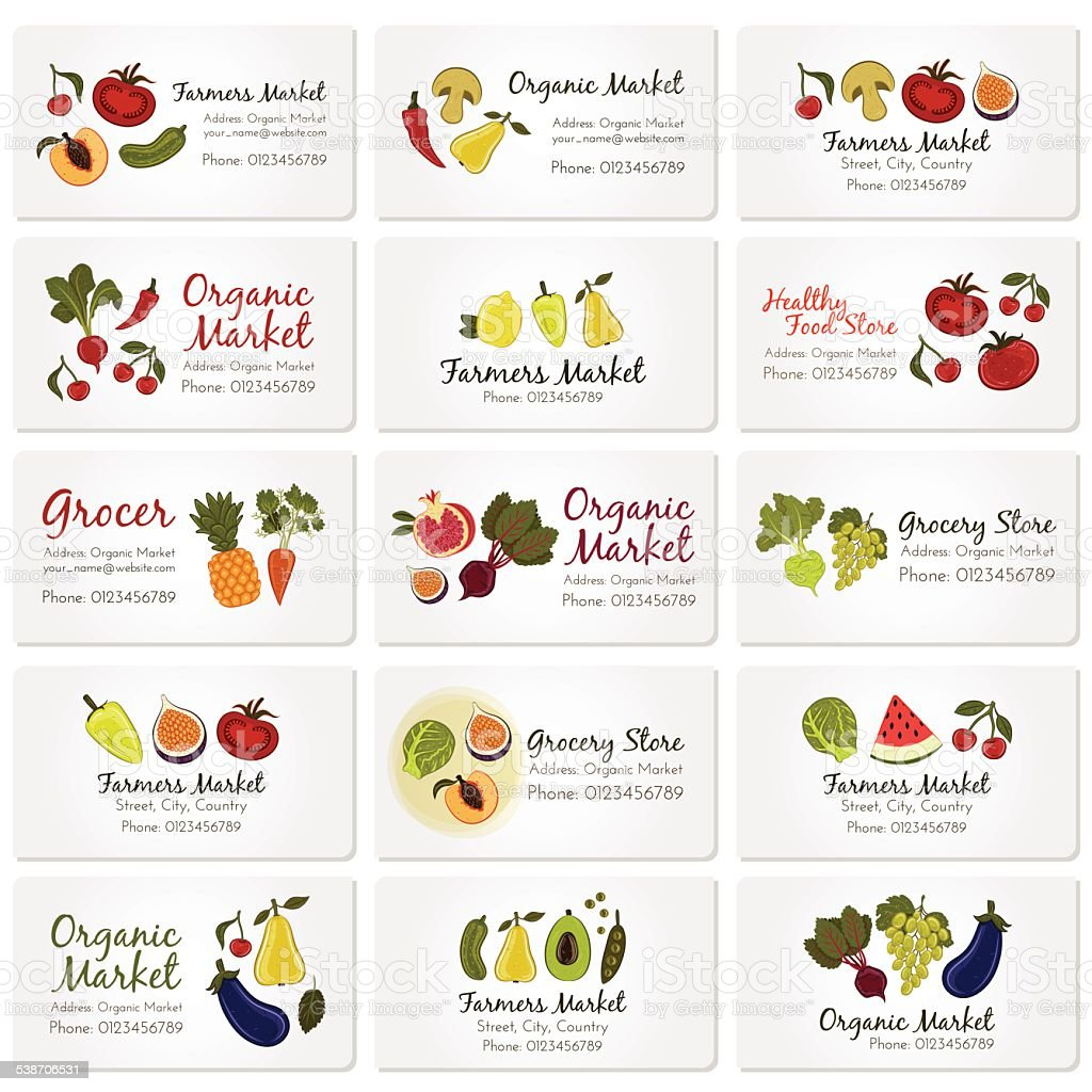 Vector set of business cards with fruits and vegetables vector art illustration