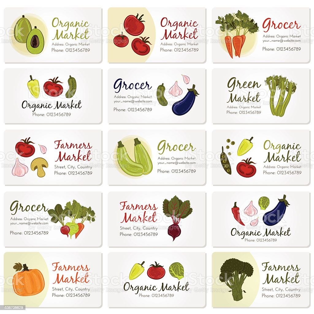 Vector set of business cards with vegetables vector art illustration