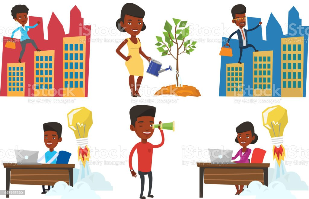 Vector set of business characters vector art illustration