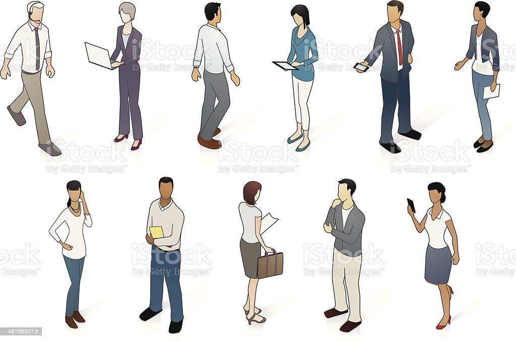 Vector set of business people vector art illustration