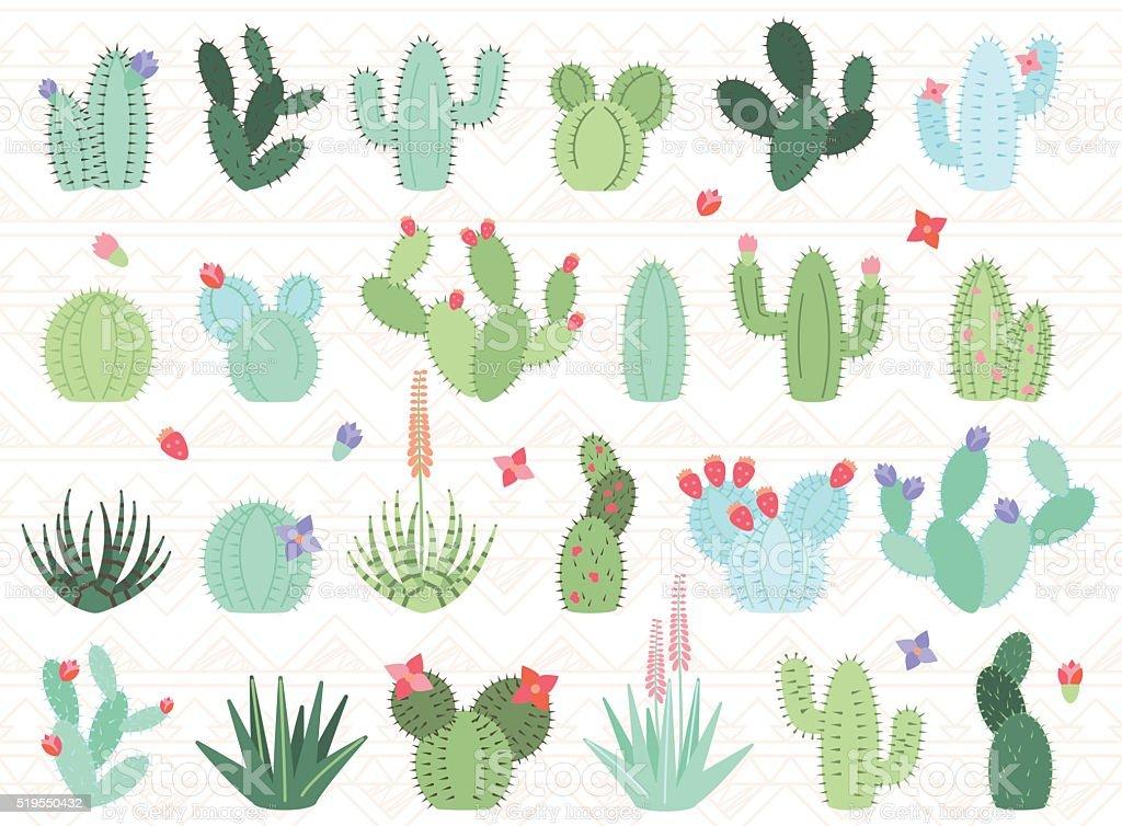 Vector Set of Cactus and Succulent Plants vector art illustration