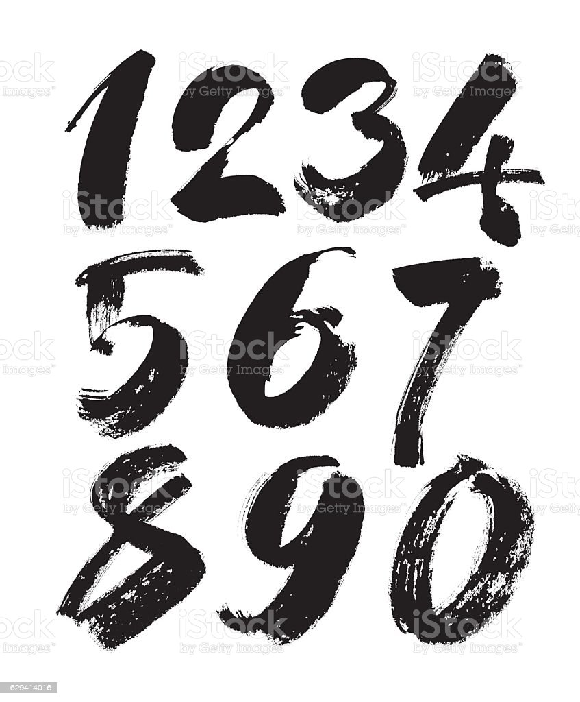 vector set of calligraphic acrylic or ink numbers, brush lettering vector art illustration