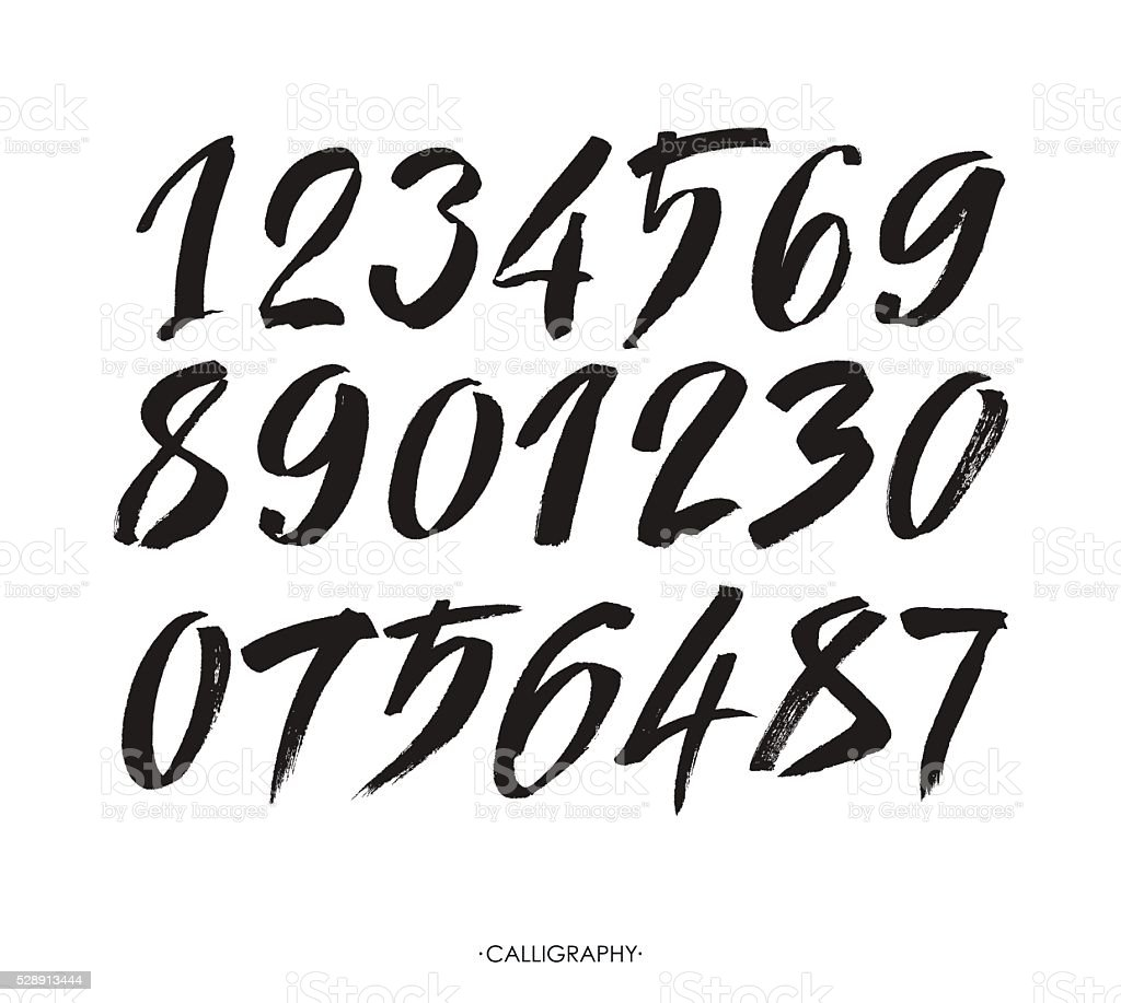 vector set of calligraphic acrylic or ink numbers vector art illustration