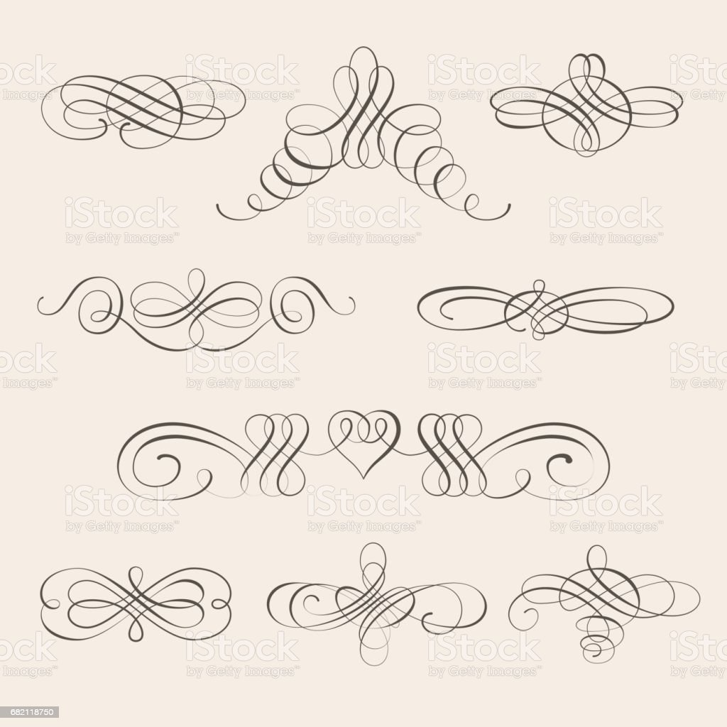 Vector set of calligraphic design elements and page decorations vector art illustration