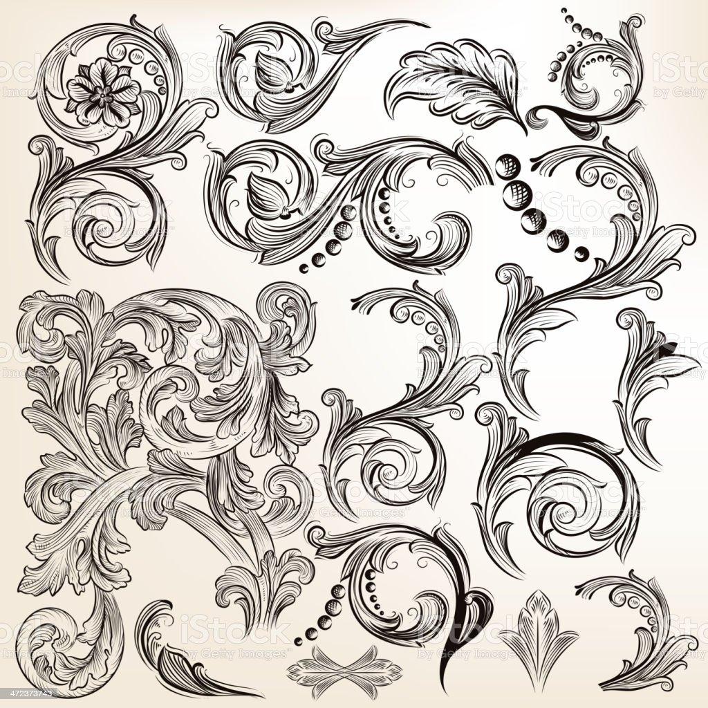 Vector set of calligraphic vintage swirls for design vector art illustration