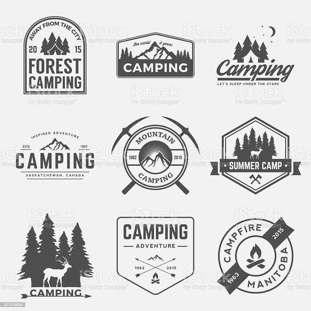vector set of camping and outdoor adventure vintage logos vector art illustration