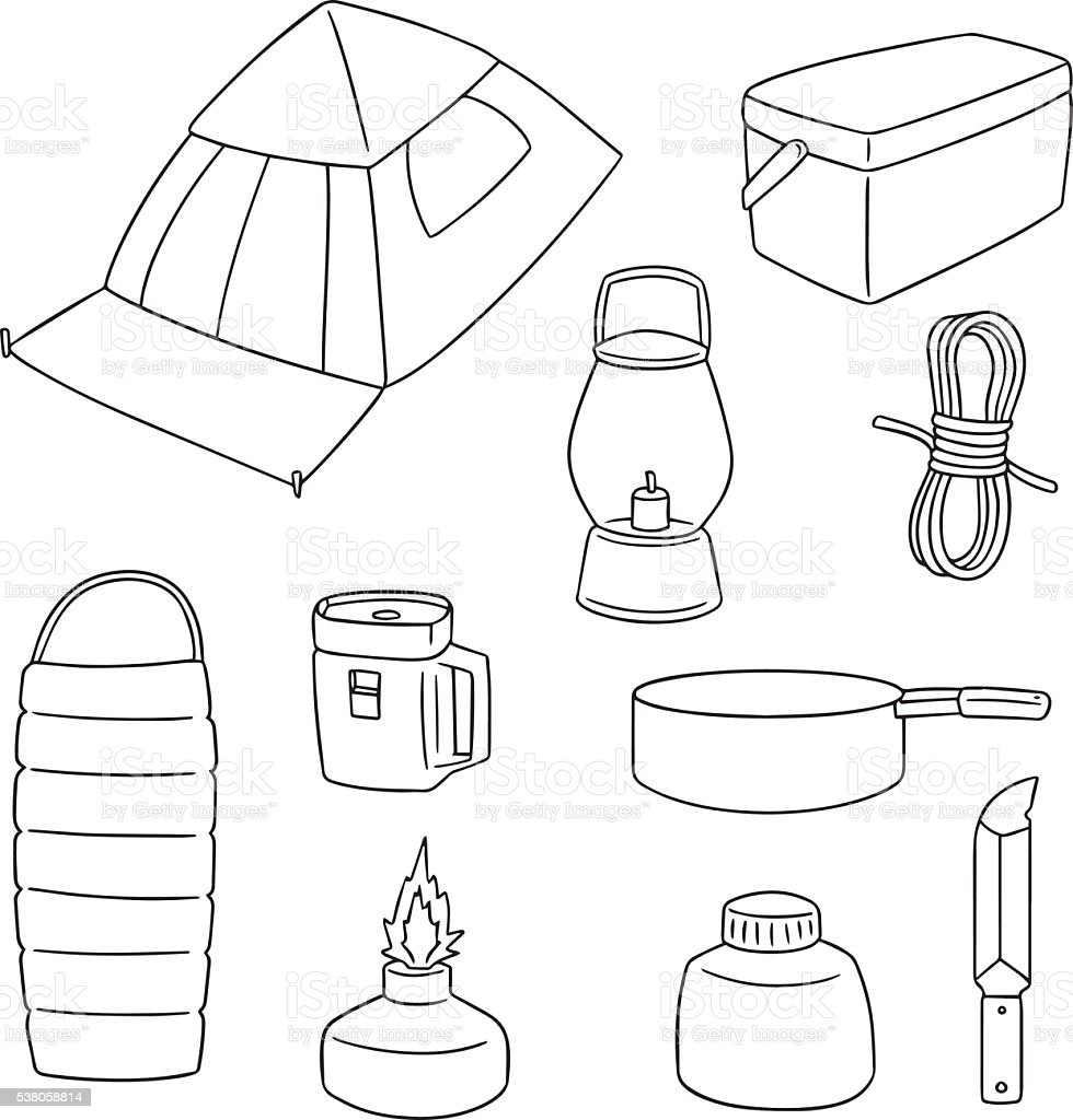 vector set of camping equipment vector art illustration